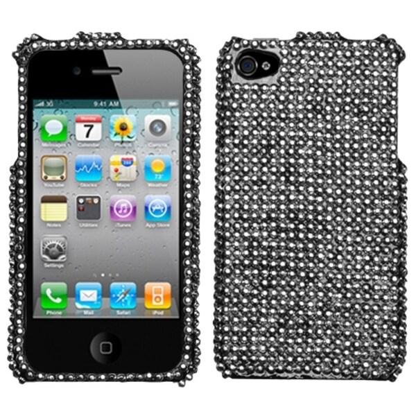 INSTEN Black/ Luxury Elite/ Diamante Phone Case Cover for Apple iPhone 4S/ 4