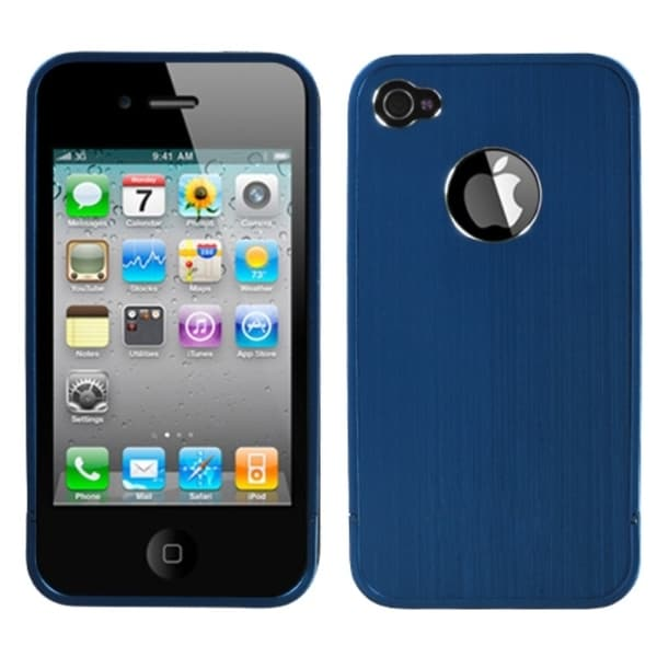 INSTEN Blue/ Chrome Ironside Shield for Apple iPhone 4S/ 4