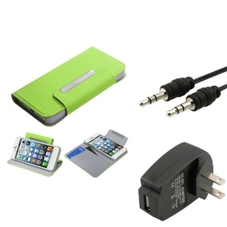 BasAcc Wall Charger/ Audio Cable/ Wallet Case for Apple iPhone 5