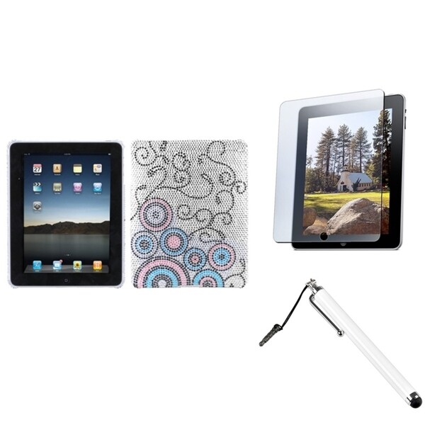 INSTEN Stylus/ Screen Protector/ Diamond Back Tablet Case Cover for Apple iPad 1
