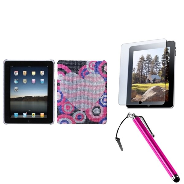INSTEN Stylus/ Screen Protector/ Diamante Back Tablet Case Cover for Apple iPad 1