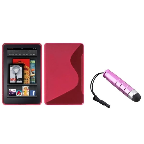 INSTEN Hot Pink Phone Case Cover/ Pink Stylus for Amazon Kindle Fire