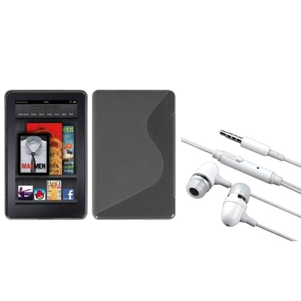 BasAcc Smoke S-Shape Case/ Hands-free Headset for Amazon Kindle Fire