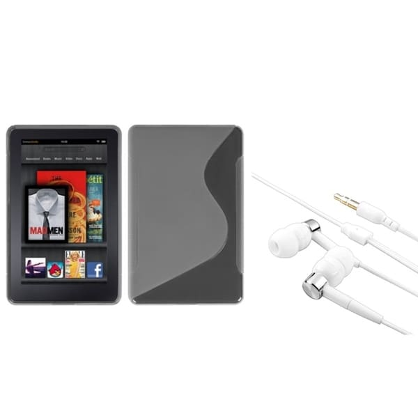 BasAcc T-Clear S-Shape Case/ Silver Headset for Amazon Kindle Fire
