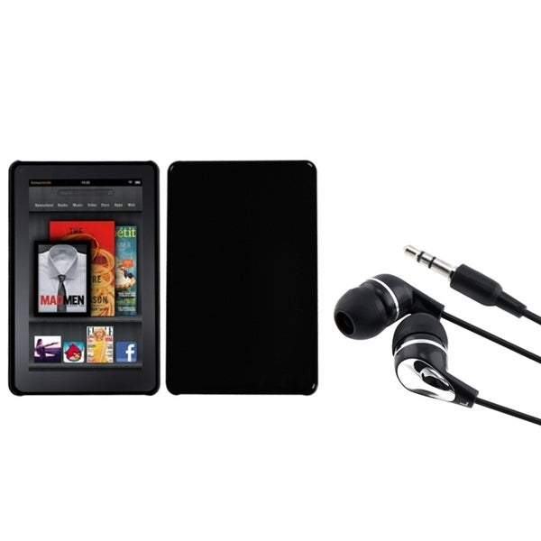 BasAcc Natural Black Case/ Silver Headset for Amazon Kindle Fire