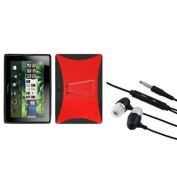 INSTEN Red/ Black Phone Case Cover/ Hands-free Headset for Blackberry Playbook