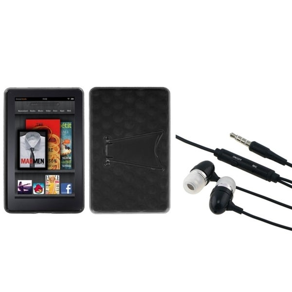 BasAcc T-Clear Black Case/ Hands-free Headset for Amazon Kindle Fire