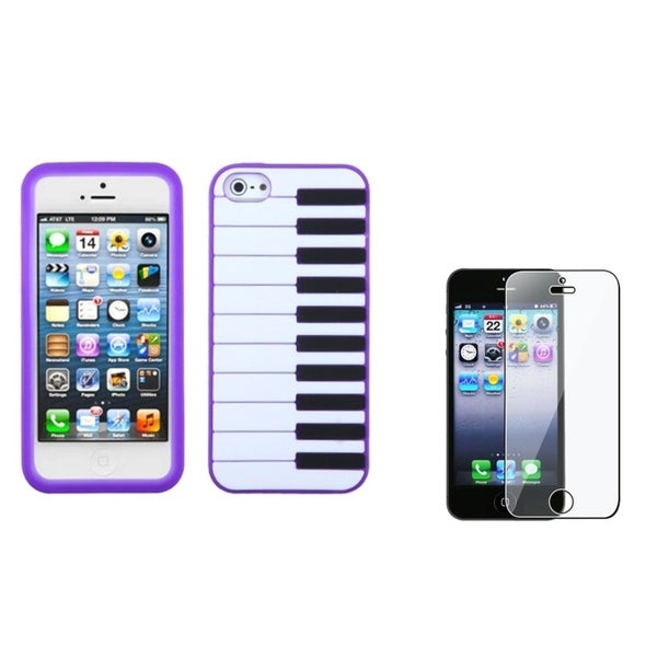 INSTEN Purple Piano Keys Phone Case Cover/ Screen Protector for Apple iPhone 5