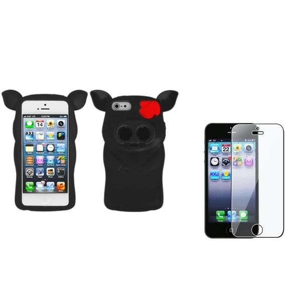 INSTEN Black 3D Pig Nose Phone Case Cover/ Screen Protector for Apple iPhone 5