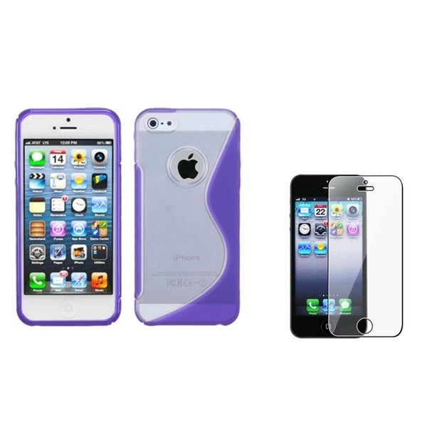 INSTEN Clear-Purple S-shape Phone Case Cover/ Screen Protector for Apple iPhone 5