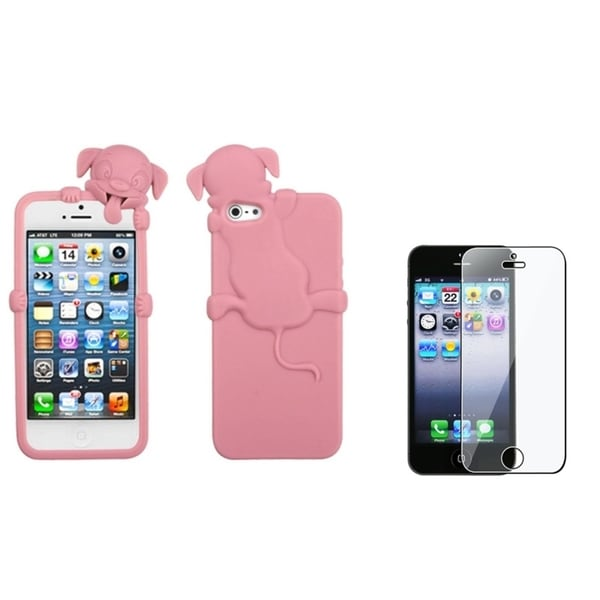 INSTEN Cute Pink Dog Phone Case Cover/ Screen Protector for Apple iPhone 5