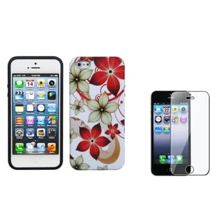 BasAcc Hibiscus Flower Case/ Screen Protector for Apple iPhone 5
