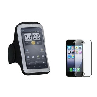 INSTEN Black Armband Phone Case Cover/ Screen Protector for Apple iPhone 5/ 5S/ 5C