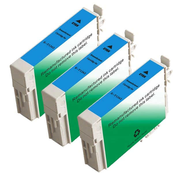 Epson T126220 (T1262) Cyan Remanufactured Ink Cartridge (Pack of 3)
