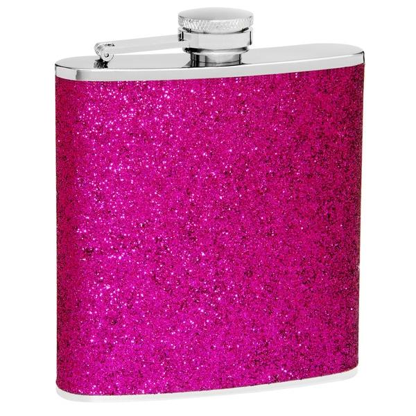 6-Ounce Purple Glitter Flask