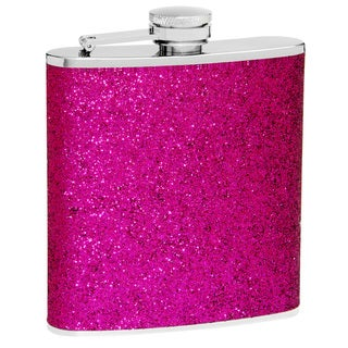 6-Ounce Purple Glitter Flask