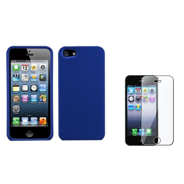 INSTEN Titanium Dark Blue Phone Case Cover/ Screen Protector for Apple iPhone 5