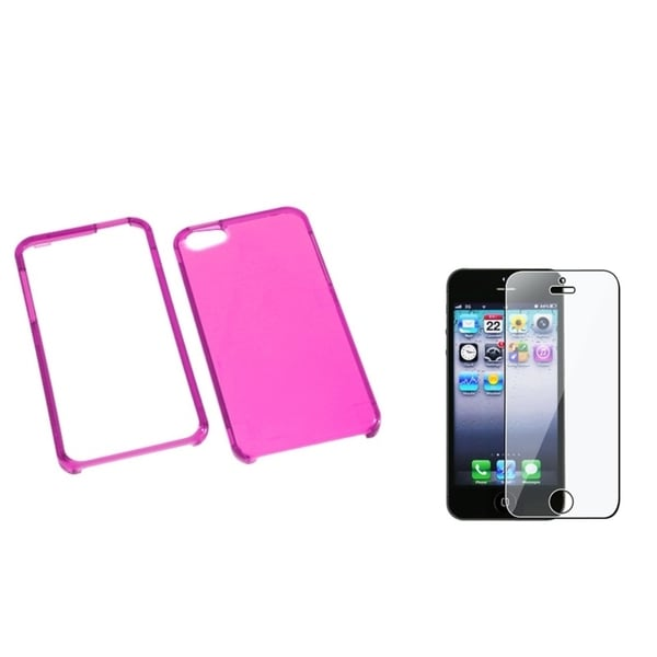 INSTEN T-Clear Hot Pink Phone Case Cover/ Screen Protector for Apple iPhone 5