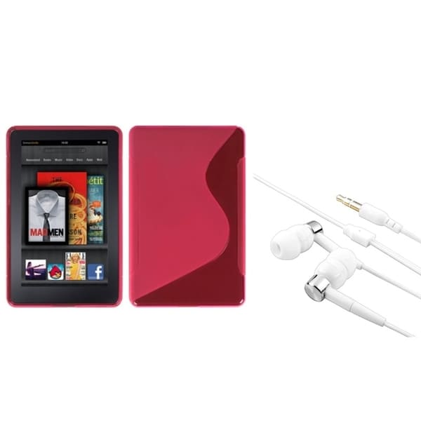 BasAcc Hot Pink S-Shape Case/ Silver Headset for Amazon Kindle Fire