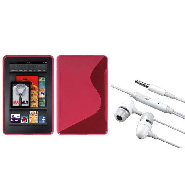 BasAcc Hot Pink S-Shape Case/ Hands-free Headset for Amazon Kindle Fire