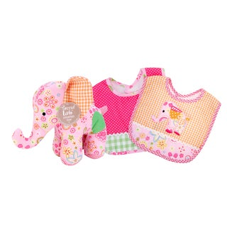Trend Lab Sherbet Elephant 3-piece Bib and Buddy Set