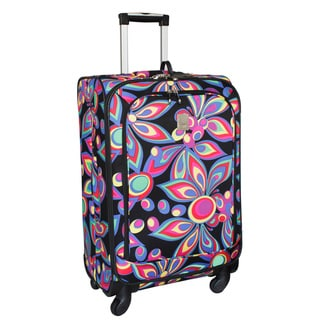 Jenni Chan Wild Flower 25-inch Medium 360 Quattro Spinner Upright Suitcase