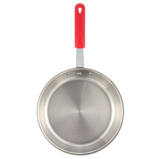 Winco Apollo 7-inch 3-ply Red Silicone Sleeve Handle Fry Pan