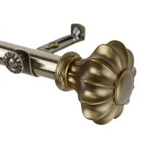 Amor Adjustable Antique Brass Curtain Rod Set