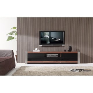 Ayla Light Walnut/ Stainless Steel IR-Compatible TV Stand