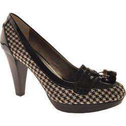 Women's Circa Joan & David Philipo Black/White Houndstooth/Black Patent Trim