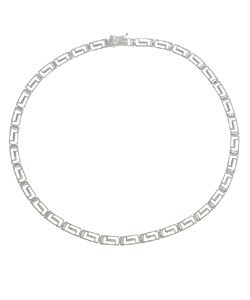 Mondevio Sterling Silver 16-inch Greek Key Link Necklace