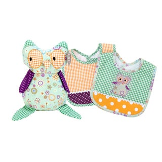 Trend Lab Jelly Bean Owl 3-piece Bib and Buddy Set