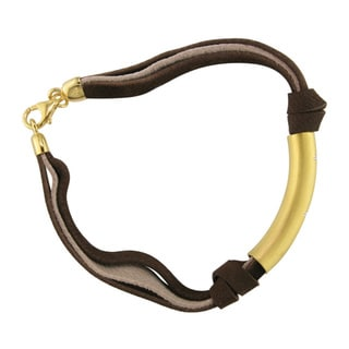Yellow Goldplated and Brown Leather Diamond Accent Bracelet