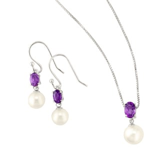 Silver White Freshwater Pearl and Amethyst Earring and Pendant Set