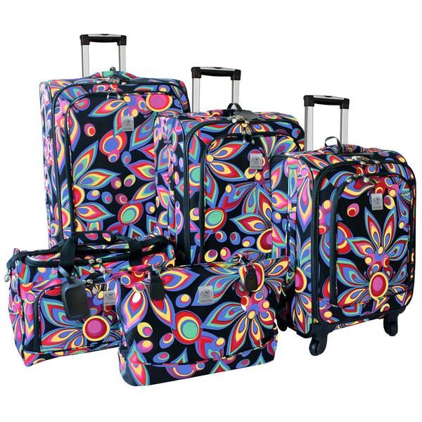 Jenni Chan Wild Flower 5-piece 360 Quattro Spinner Luggage Set