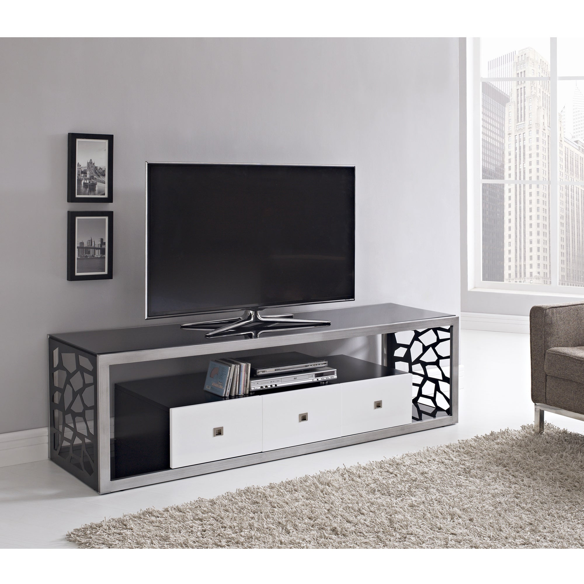black glass modern 70 inch tv stand overstock shopping great deals on entertainment centers. Black Bedroom Furniture Sets. Home Design Ideas