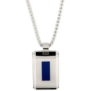 Stainless Steel Blue Enamel Men's Pendant Necklace