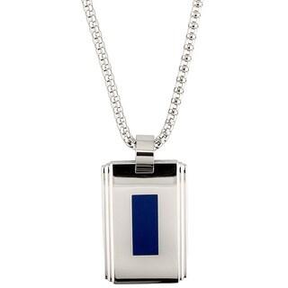 Stainless Steel Blue Enamel Men's Pendant Necklace