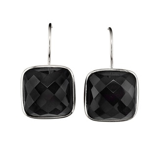 Sterling Silver Cushion-cut Black Onyx Earrings