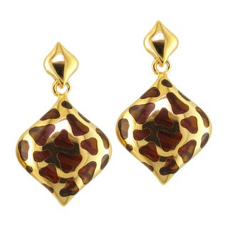 Yellow Goldplated Brown Resin Dangle Earrings