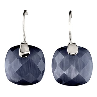 Sterling Silver Cushion-cut Cat's Eye Obsidian Earrings