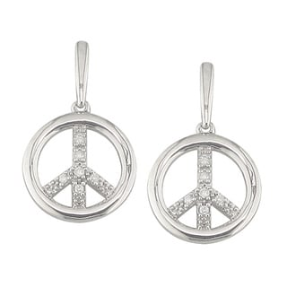 Sterling Silver 1/10ct TDW Diamond Peace Sign Earrings (H, I1)