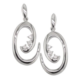 Sterling Silver Diamond Accent Swirl Design Earrings