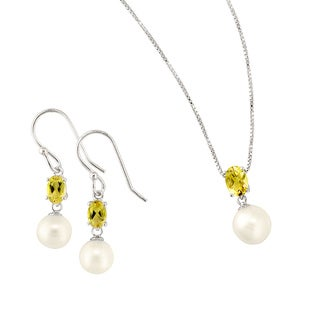 White Pearl and Citrine Earring and Pendant Set