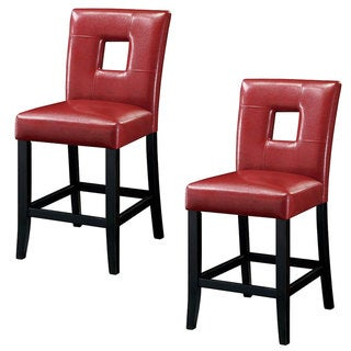 'Lillian' Bi-cast Red Leatherette Counter Stools (Set of 2)