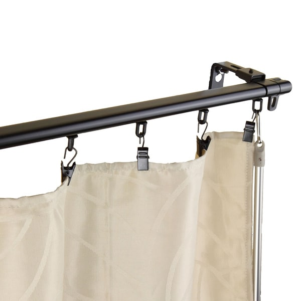 Regal Black Adjustable Curtain Track Set