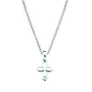 Little Diva Diamonds Silver Children's Diamond Accent Cross Necklace