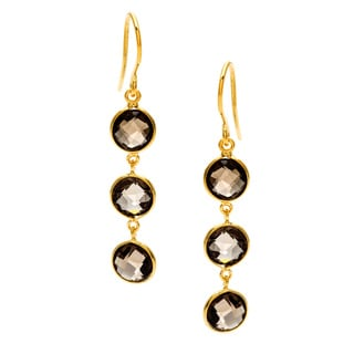 Smoky Quartz Gold Plated Silvertone Earrings (India)