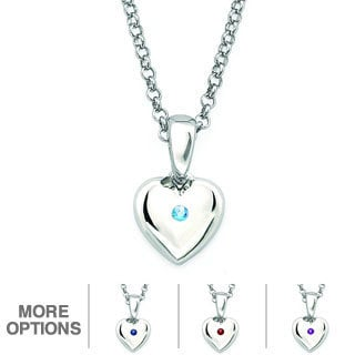 Little Diva Diamonds Silver Children's Birthstone Heart Necklace