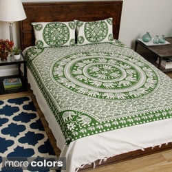 Monochrome Bedspread and Pillowcases from Pilkhuwa with Printed Mandala and Elephant Pairs (India)